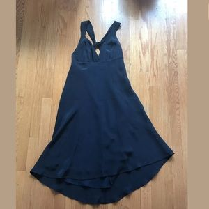 J Crew Long, Twisted Back, Dark Blue Silk Dress P0